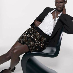 Zara Skirts - Zara Knit Sequined Mini Skirt